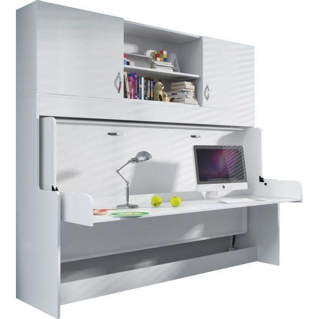 COMFORIUM - Bureau amovible avec Lit combiné escamotable 90x200 et espace de rangements supplémentaires Blanc - 60cm x 214cm x 209cm