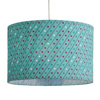 Little Big Room - Suspension cylindre en coton motif diagonale pois bleu/rouge diamètre 35cm Teo - Avec câble
