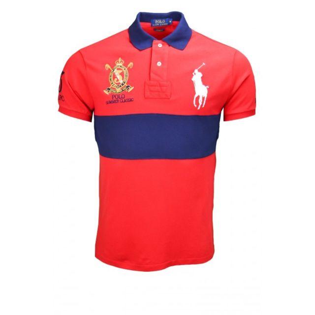 47d533128a3d Ralph Lauren - Polo Big Pony rouge pour homme - pas cher Achat   Vente Polo  homme - RueDuCommerce
