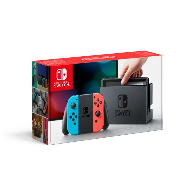 NINTENDO - Console Switch avec un Joy-Con rouge néon et un Joy-Con bleu néon