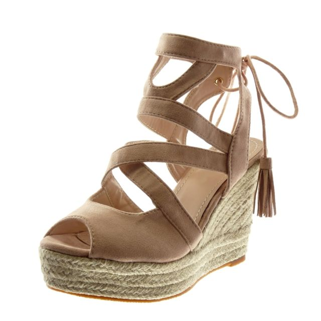 Toe Sandale Bride Lacets Corde Espadrille Peep Angkorly Multi q86tOO