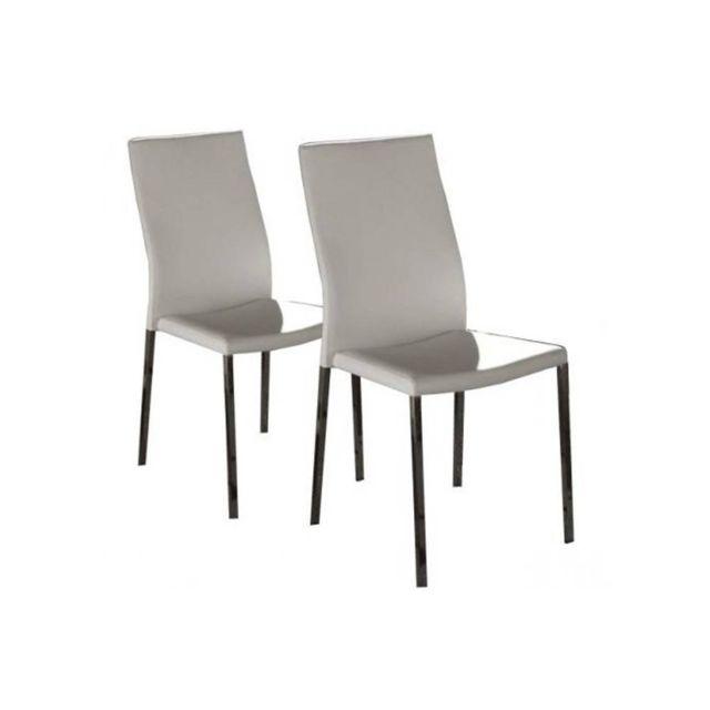 Inside 75 Lot de 2 chaises design Hellen en tissu enduit polyuréthane simili façon cuir blanc et acier chromé