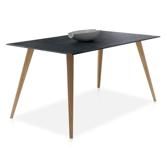 Tousmesmeubles Table de repas plateau imitation pierre - Pierra