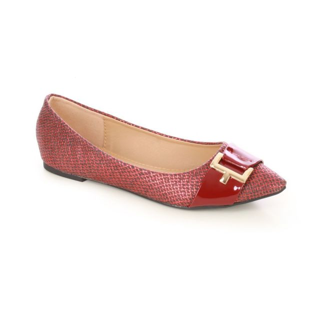 Lamodeuse Ballerines Pointues Rouges Python Pas Cher Achat