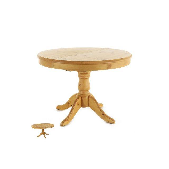 Table ronde en pin massif 110 cm avec allonge - Mario