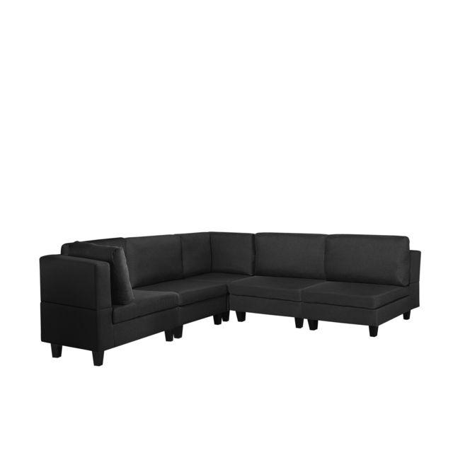 BELIANI Canapé angle modulable 5 places en tissu noir FEVIK - noir