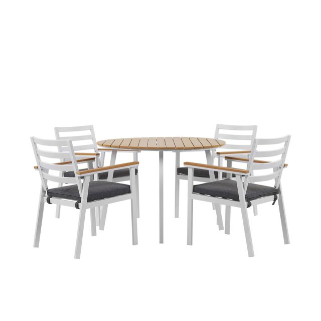 BELIANI Ensemble de jardin 4 places en aluminium blanc CAVOLI