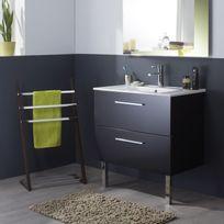 Planetebain - Meuble de salle de bain noir laqué brillant en 80 cm