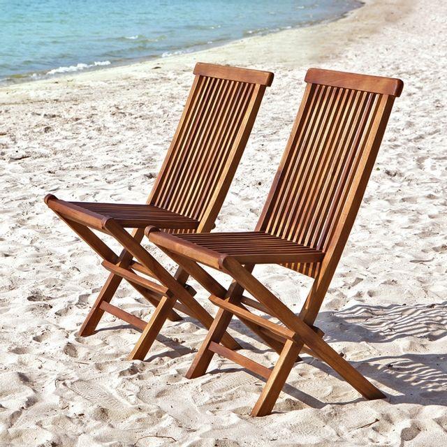 Bois Dessus Bois Dessous Chaise de jardin pliante en teck huilé lot de 2