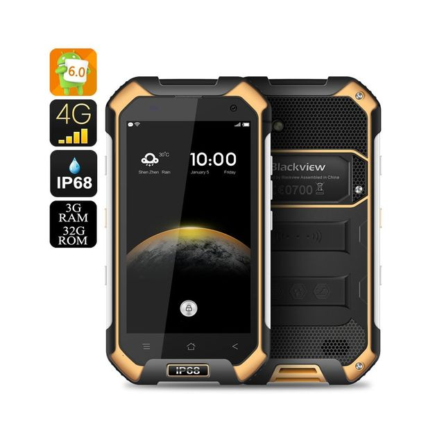 Auto-hightech Smartphone Android 6.0 Double Sim Ip68, Capteur atmosphérique Orange