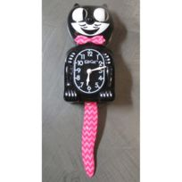 Universel - Pendule kit cat clock noir vague rose serie limité horloge