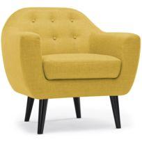 no name fauteuil scandinave fidelio tissu jaune - Fauteuil Scandinave Moutarde