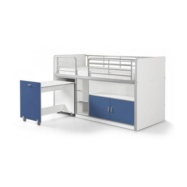Vipack Lit Mezzanine + Bureau + Rangement 90x 200 Bonny Bleu