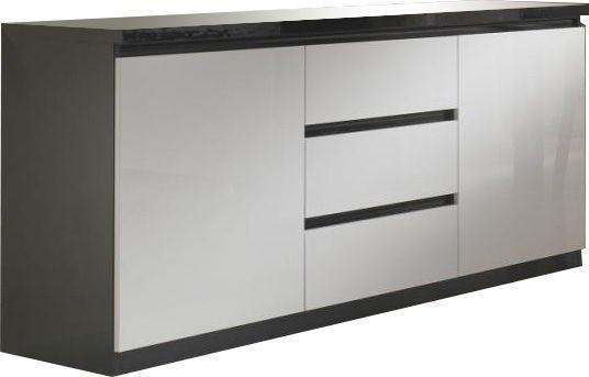 Comforium Bahut design noir et blanc laqué à 2 portes 3 tiroirs