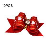 Wewoo - Vêtements pour Long Diminutif Cheveux Rouge Animal compagnie Épingle à Élastique Bijoux Modélisation Fleur / Pet 10 Pcs
