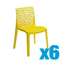 Lot de 6 Chaise Jaune GRUVYER S6316GB