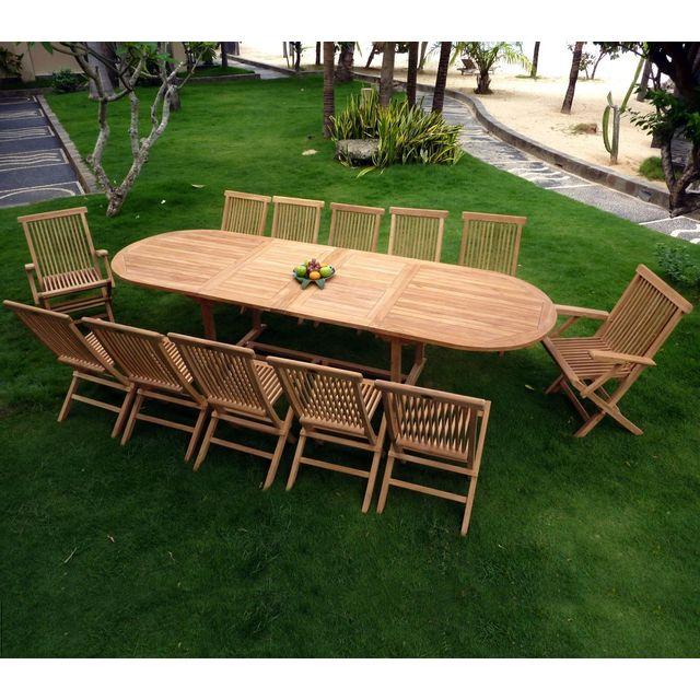 Wood En Stock - salon en teck pour le jardin, table grande taille 3 ...