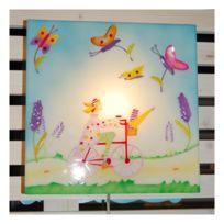 L'Oiseau Bateau lampe enfant - Luminaire chambre bébé Fille à vélo applique murale
