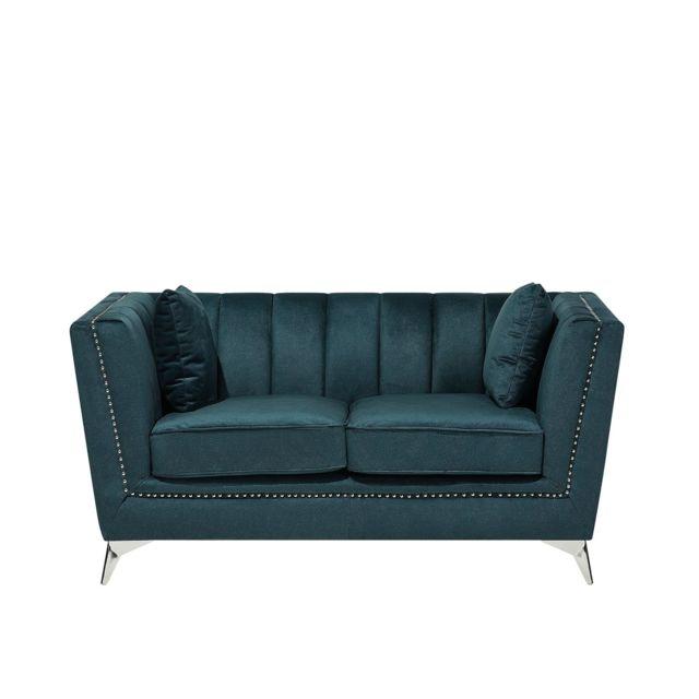 BELIANI Canapé 2 places en velour bleu vert GAULA