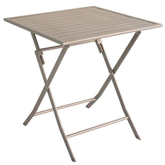 Pegane - Table de jardin en aluminium carré coloris taupe mat - Dim ...