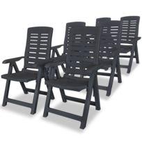 Vidaxl Chaise inclinable de jardin 6 pcs Plastique