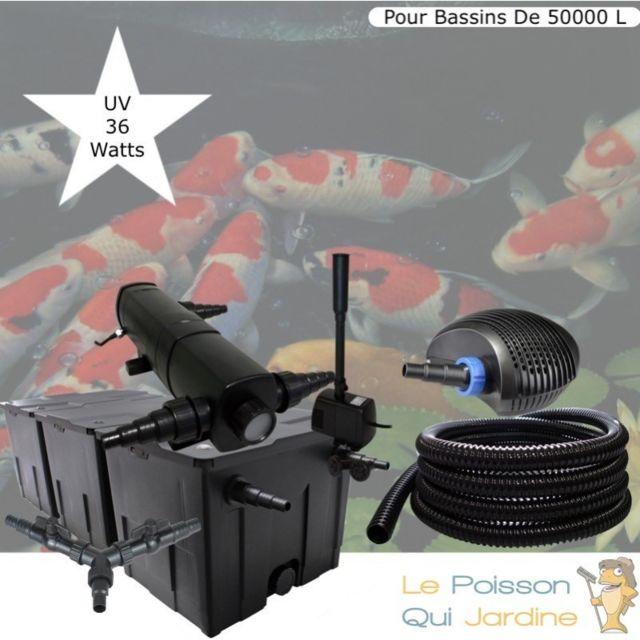 Le Poisson Qui Jardine Kit Filtration Complet, Uv 36W + Fontaine Pour Bassins De 50000 L