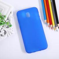 Wewoo - Coque bleu pour Samsung Galaxy J7 2017 / J730 version de l'UE givré solide couleur souple Tpu étui de protection arrière