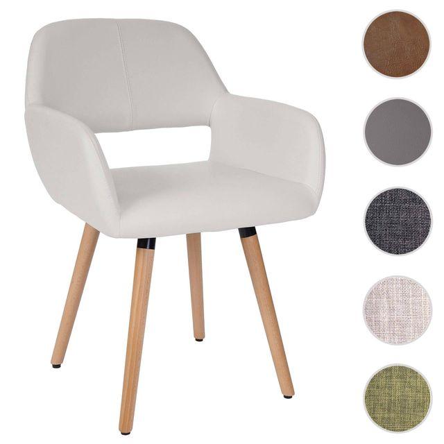 Mendler Chaise de salle à manger Altena Ii, fauteuil, design rétro des années 50 ~ similicuir, blanc