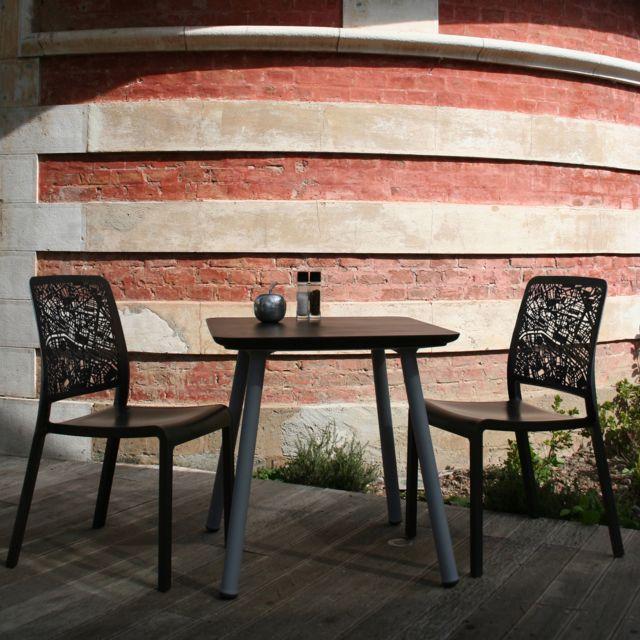Evolutif - Salon de jardin en Résine 2 places : table 70x70 ...