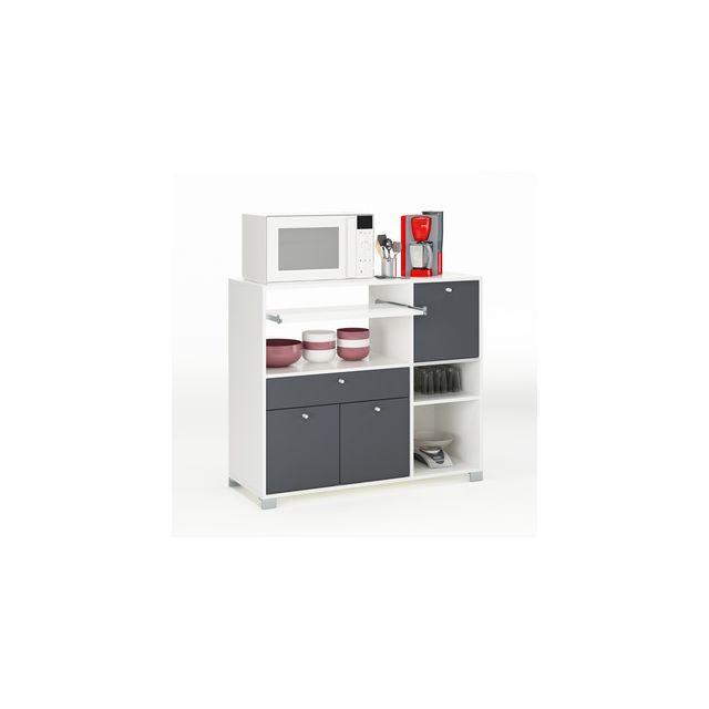desserte micro onde 2 portes 1 tiroir 1 abattant long 103 5 cm blanc gris mara pas cher achat. Black Bedroom Furniture Sets. Home Design Ideas