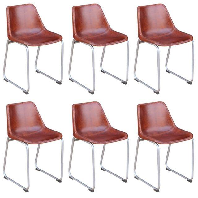 Sans Marque 6 chaises de salle à manger Cuir véritable Marron