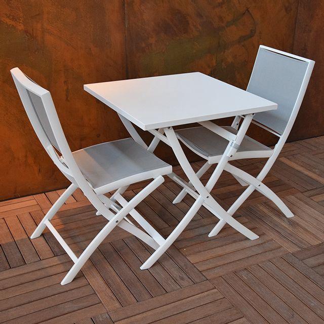 Gecko Jardin - Table pliante carrée en alu blanc 70 x 70 cm Grace ...