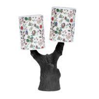 Domestic - You & Me - Lampe à poser Arbre Céramique Noir et abat-jour Tissu Automne H48cm - Lampe à poser designé par Nathalie Lété