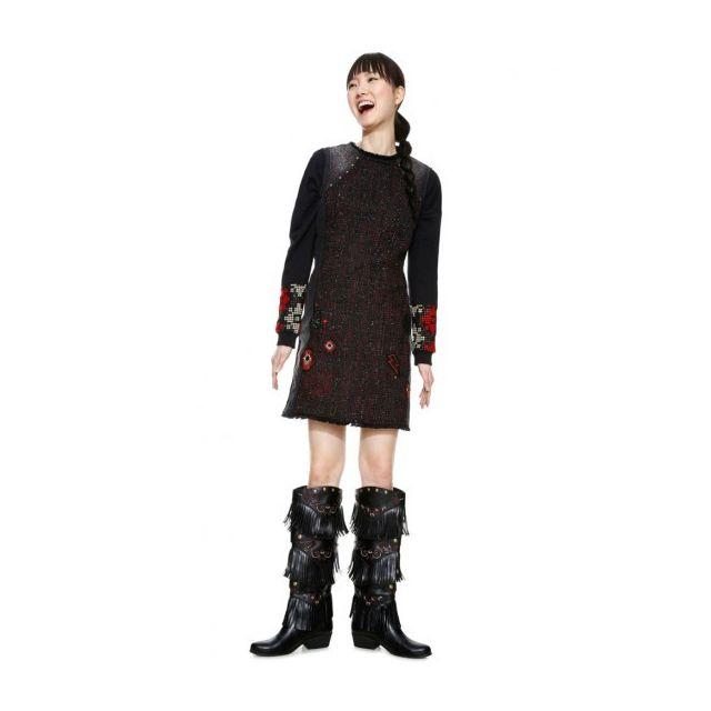 5a0b8587451 Desigual - Desigual Robe Femme Patri Noir et Motifs 18WWVD05 - Taille - 46