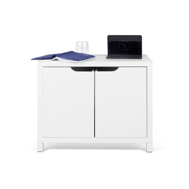 Les Essentiels By Dlm Meuble de rangement 2 grands tiroirs 62cm blanc Basic