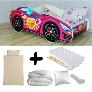 bebe gavroche pack complet lit enfant voiture rose lit matelas parure couette oreiller. Black Bedroom Furniture Sets. Home Design Ideas