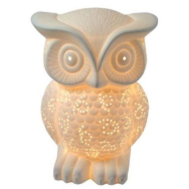 IntÉRIEUR Discount Lampe en porcelaine blanche Hibou H.20cm