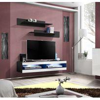 Asm-mdlt - Grand Meuble Tv bicolore Fly 34 à suspendre 160x30x40cm - blanc et noir de haute brillance avec éclairage Led