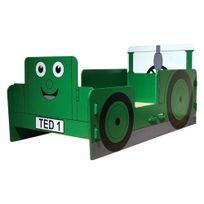 Kidsaw - Lit enfant tracteur vert pour enfant 70 x 140 cm Ted dessin animé