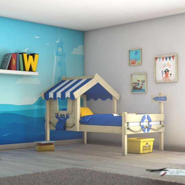 WICKEY Lit en bois pour enfant CrAzY Sharky Lit simple - bleu