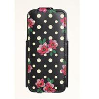 Accessorize - Etui à clapet noir motif fleurs et pois pour Phone 5