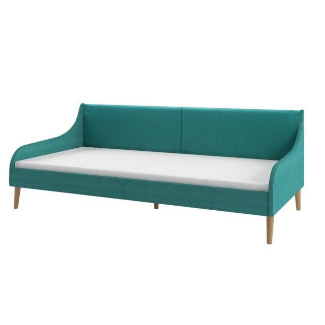 Icaverne - Canapés collection Cadre de lit de jour avec matelas en mousse Vert Tissu