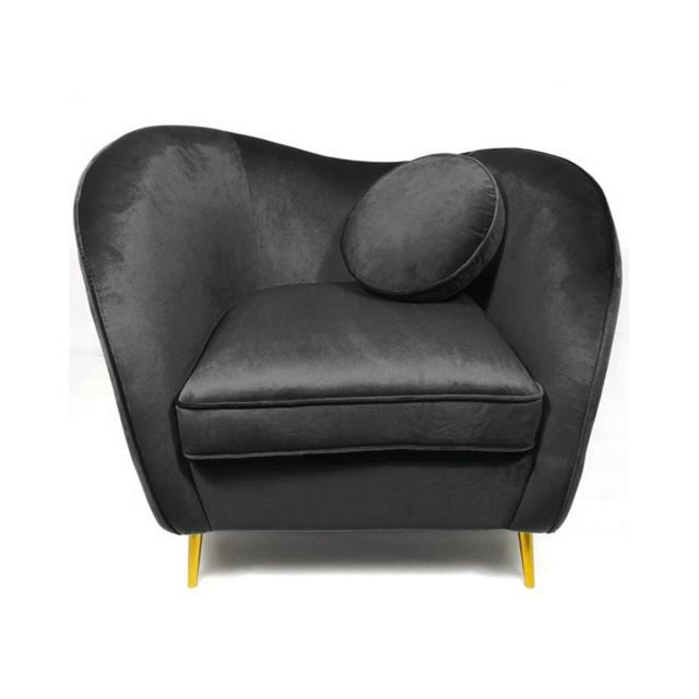 Meubler Design Legend Fauteuil Velours pieds Métal Or - Noir