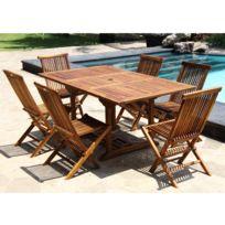 Bois Dessus Bois Dessous - Salon de jardin teck huilé 6/8 pers Table rect larg 100cm 6 chaises