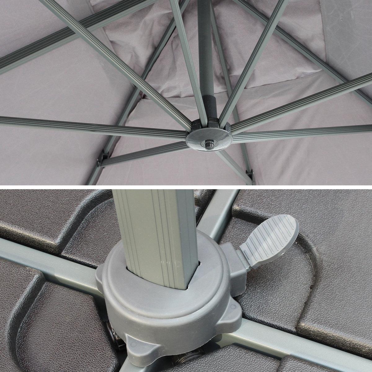 Parasol déporté rectangulaire St. Jean de Luz 3x4m haut de gamme excentré inclinable rotatif à 360° Gris