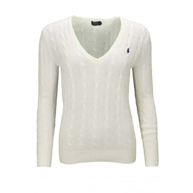 d04faeee90b7 Ralph Lauren - Pull col V Kimberly blanc pour femme - pas cher Achat   Vente  Pulls femme - RueDuCommerce