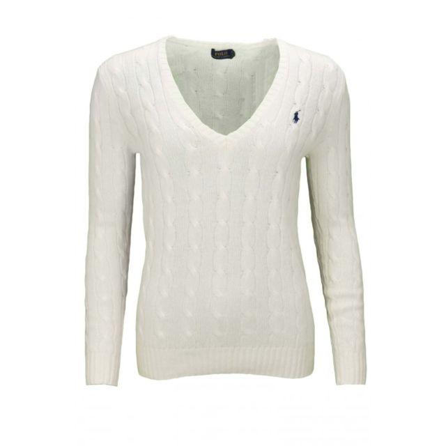 2baece3f71d2 Ralph Lauren - Pull col V Kimberly blanc pour femme - pas cher Achat   Vente  Pulls femme - RueDuCommerce