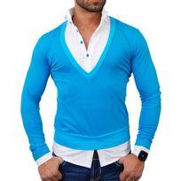Tazzio - Pull chemise 2 en 1 Pull Tz724 bleu