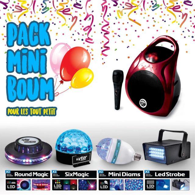 Lytor Pack de 4 jeux lumières + Enceinte Mobile Karaoké