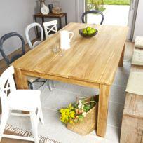 Bois Dessus Bois Dessous - Table rectangulaire en bois de Teck Brut Qualite Premium - 180 x 100cm